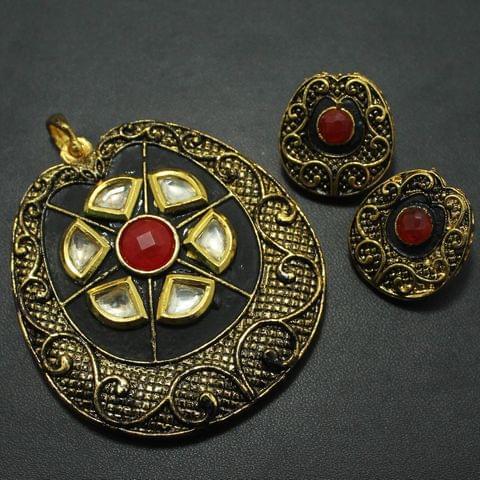 Kundan Pendant and Earring Set, Size-6x5.5cm