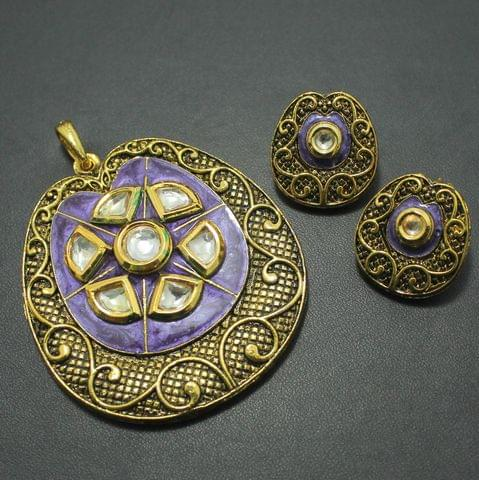 Kundan Pendant and Earring Set, Size-6x5.5cm