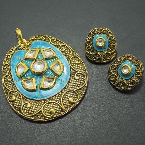 German Silver Kundan Pendant and Earring Set, Size-6x5.5cm