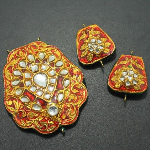 Red Kundan Pendant and Earring Set 5.5x5cm