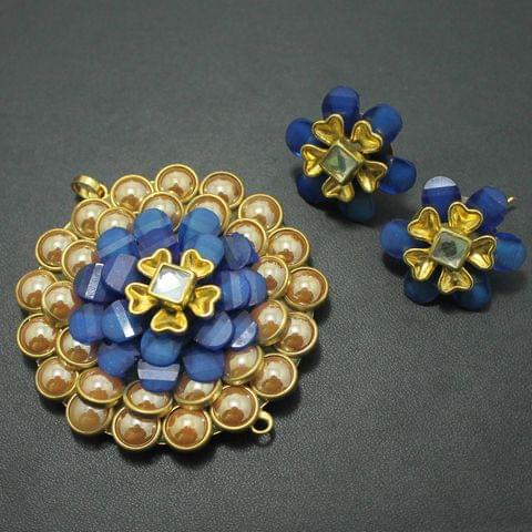 Blue Takkar Work Pendant and Earring Set 5x5cm