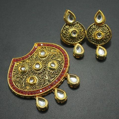 Kundan Pendant and Earring Set 4.5x5cm