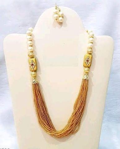 Glass Kundan Beaded Long Necklace Golden For Girls