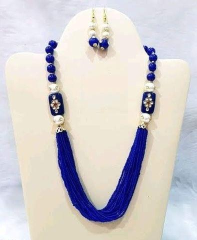 Glass Kundan Beaded Long Necklace Blue For Girls