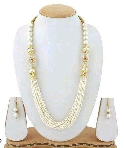 Glass Kundan Beaded Long Necklace Cream For Girls