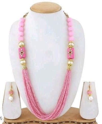 Glass Kundan Beaded Long Necklace Pink For Girls