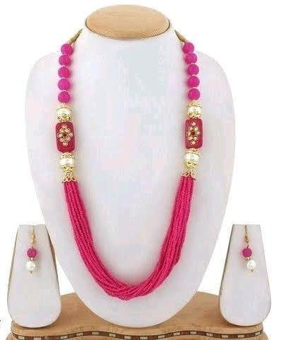 Glass Kundan Beaded Long Necklace Hot Pink For Girls