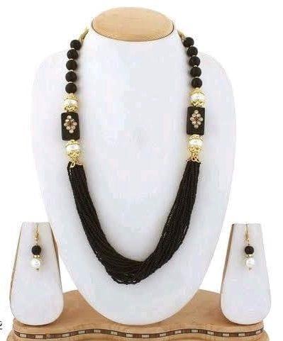 Glass Kundan Beaded Long Necklace Black For Girls
