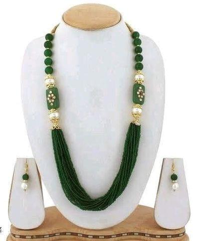 Glass Kundan Beaded Long Necklace Green For Girls