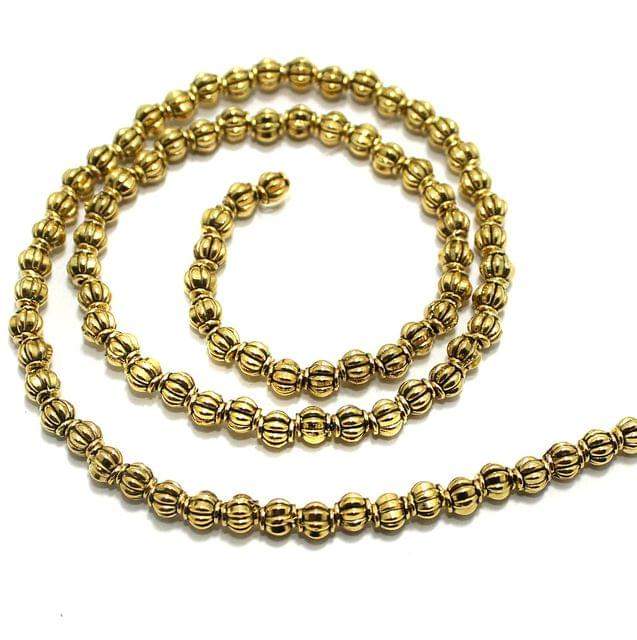 2 String German Silver Golden Beads 4x4mm
