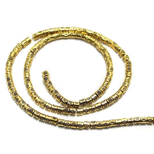 2 String German Silver Golden Beads 3x3mm