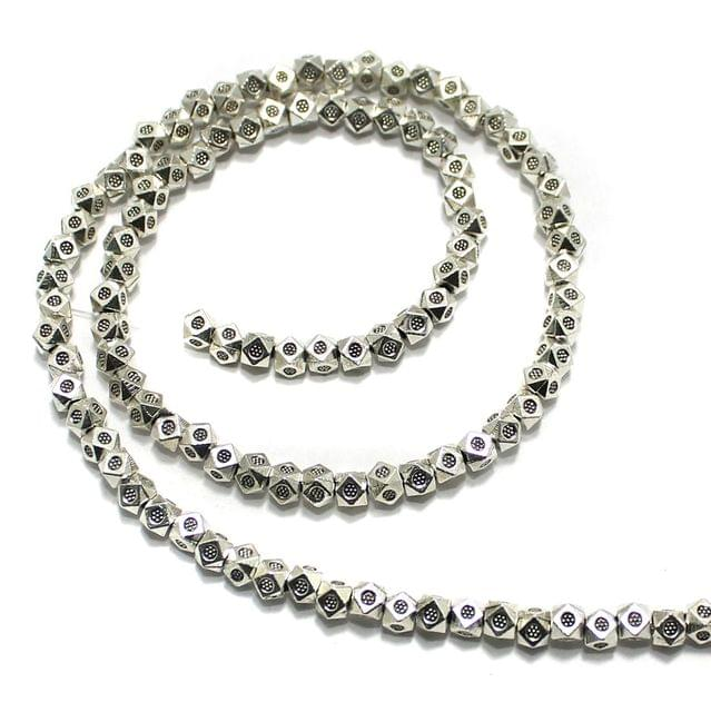 2 String German Silver Beads Silver 4x4mm