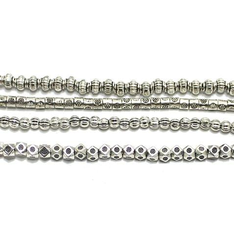 4 Assorted Strings German Silver Beads Silver 3-5mm