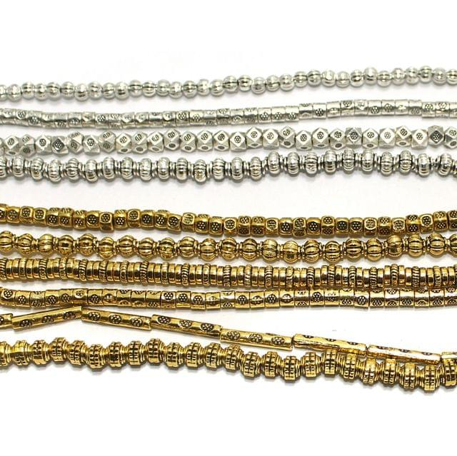 10 Assorted Strings German Silver Beads Silver & Golden 3-15mm