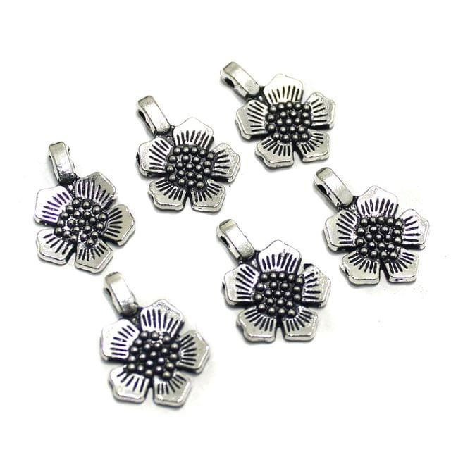 50 Pcs German Silver Flower Charms 22x15mm