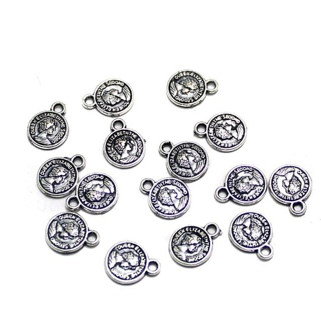 100 Pcs German Silver Queen Elizabeth Charms 11x8mm