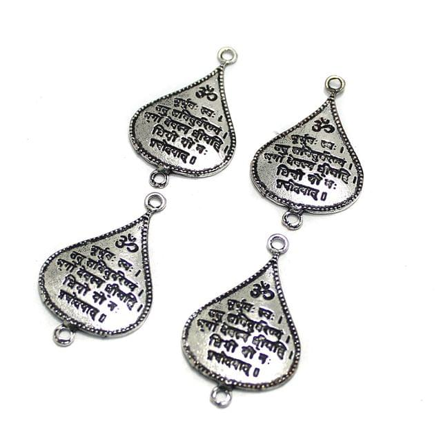 10 Pcs German Silver Gaytri Mantra Drop Charm 37x23mm