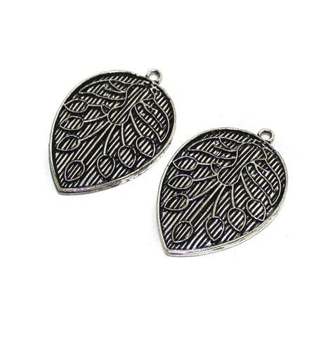 2 Pcs German Silver Leaf Charms 40x28mm