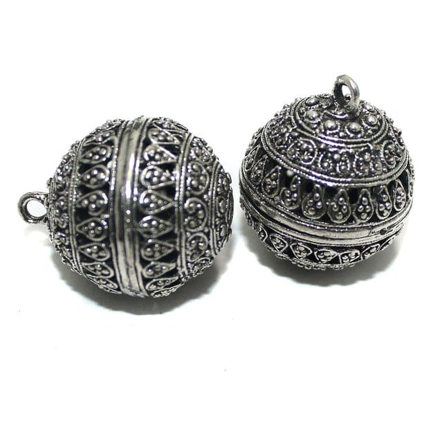 2 Pcs German Silver Ghungroo Ball Beads 30x25mm