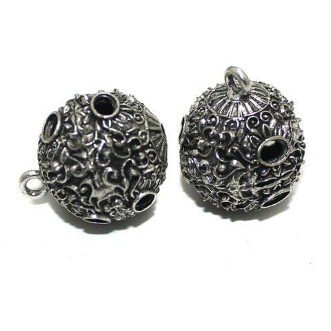 2 Pcs German Silver Ghungroo Ball Beads 30x25mm
