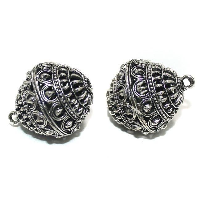 2 Pcs German Silver Ghungroo Ball Beads 33x27mm