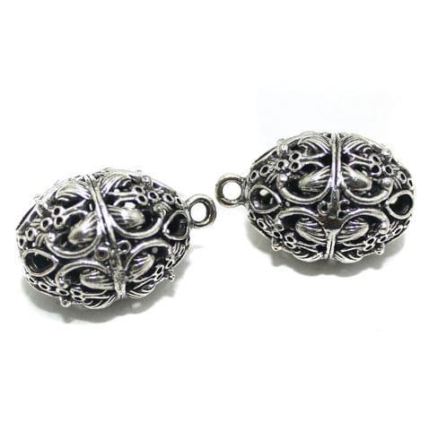 2 Pcs German Silver Ghungroo Ball Beads 31x21mm