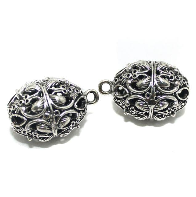 2 Pcs German Silver Ghungroo Ball Beads 31x21mm