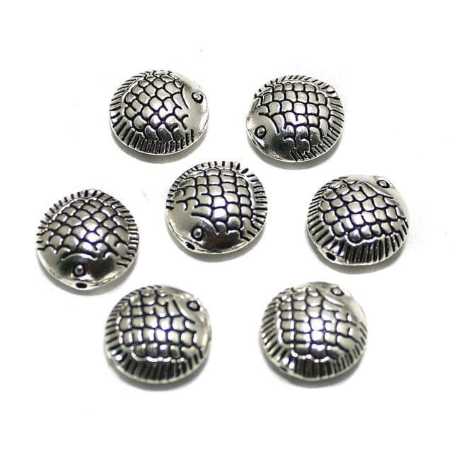 20 Pcs German Silver Fish Beads 14x14mm