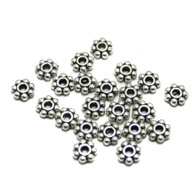 200 Pcs German Silver Chakri Beads Spacers 6x6mm