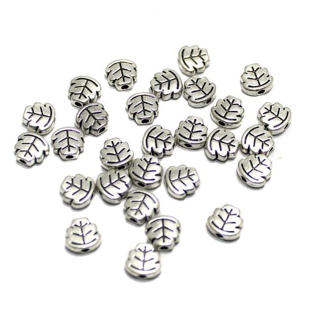 100 Pcs German Silver Leaf Beads 7x7mm