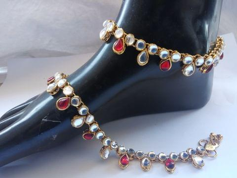 Anklet Payal Kundan Red White Gold Tone Indian Bollywood New Year Gift