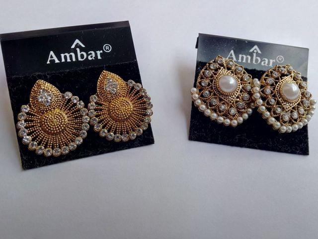 Gold Tone Earrings Pearl  fashion Indian Bollywood Combo 2 Pcs