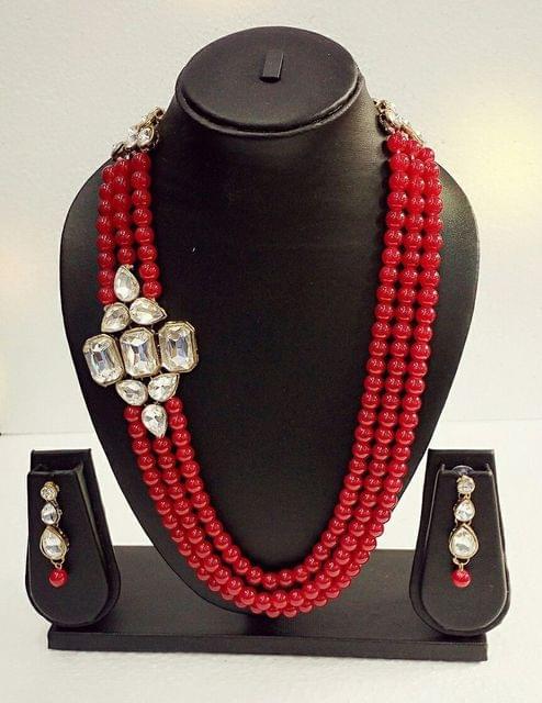 Navratri Diwali Red Beaded Kundan Jewelry set Earrings Fashion Indian
