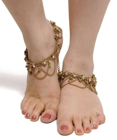 Gold Tone  Anklet Kundan Fashion Navratri Diwali Fashion Pair