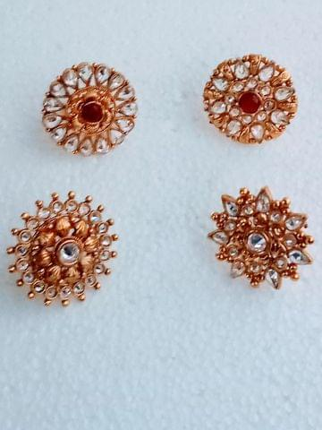 Ring Gold Tone Kundan 4 Pcs Combo Free Size Bollywood Fashion Indian Copper Metal Kurwachute