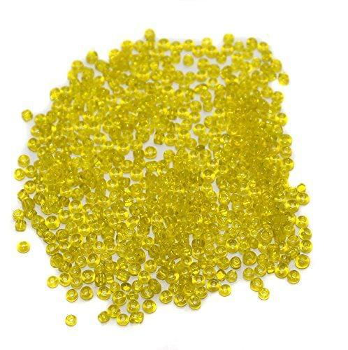 Beadsnfashion Glass Seed Beads Yellow for Jewellery Making, Beading, Arts and Crafts and Embroidery Work (100 Gm), Size 11/0
