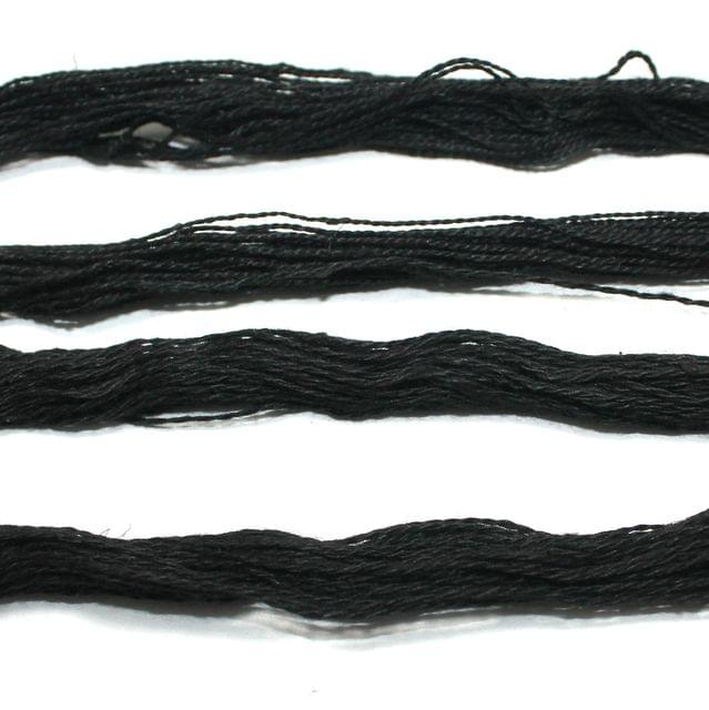 5 Bunch Colored Cotton Threads Black