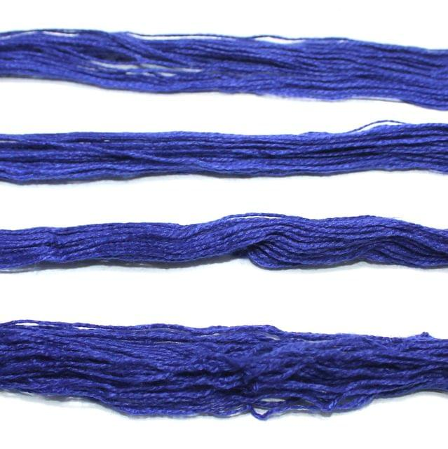 5 Bunch Colored Cotton Threads Blue