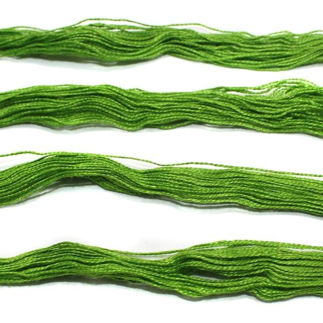 5 Bunch Colored Cotton Threads Parrot Green