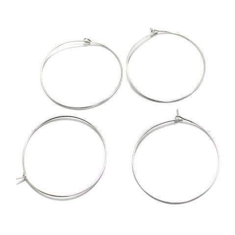 25 Pair Earring Component Silver 35 mm