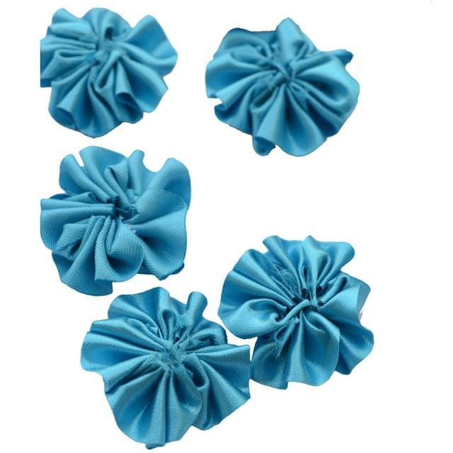 Buy 1 Get 1 Free Foppish Mart Blue Satin Stitched Flowers 15 pieces in each