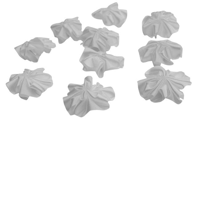 Buy 1 Get 1 Free Foppish Mart White Satin Stitched Flowers 15 pieces in each
