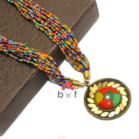 Seed Beads Necklace Multicolor With Tibetan Pendant