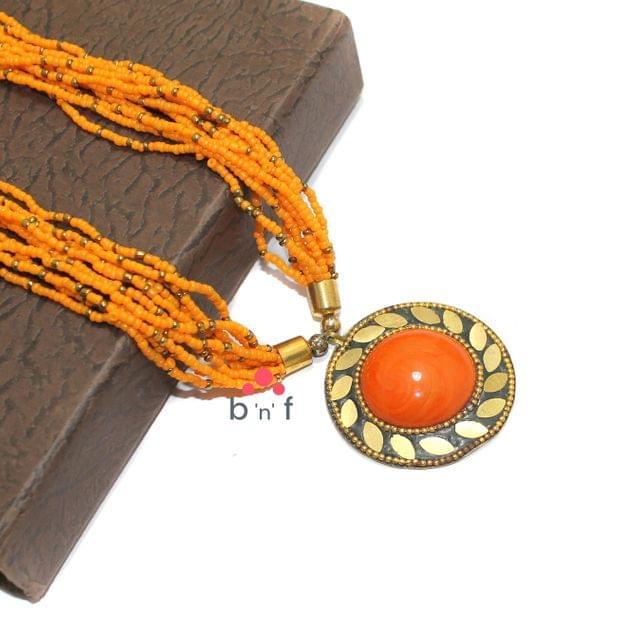 Seed Beads Necklace Orange With Tibetan Pendant