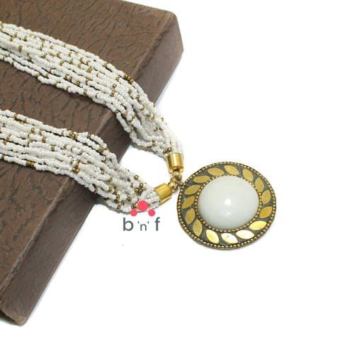 Seed Beads Necklace White With Tibetan Pendant