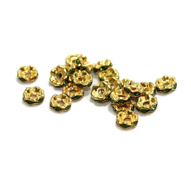 100 Pcs Rhinestone Disc Spacer Beads 6x2mm Golden
