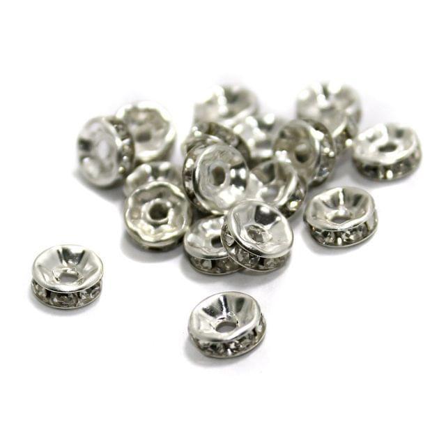100 Pcs Rhinestone Disc Spacer Beads 8x3mm Silver