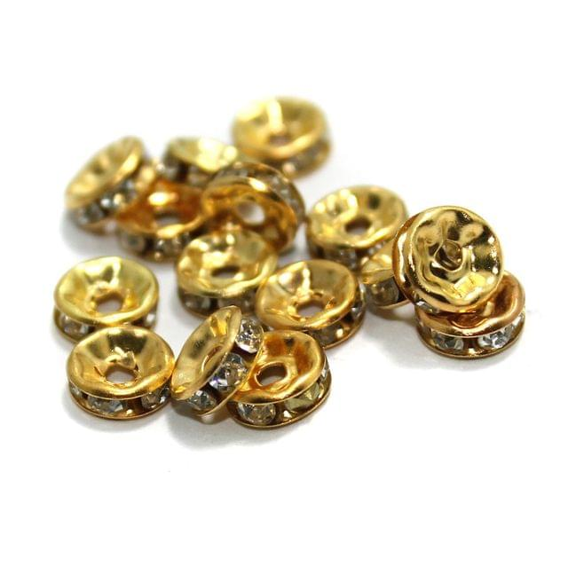 100 Pcs Rhinestone Disc Spacer Beads 8x3mm Golden
