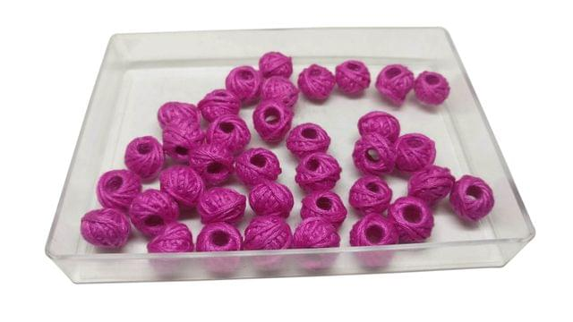 Handmade Cotton Thread Beads Ball Woven For Jewellery Making 13x10mm Drum (Pack of 50 pieces) [Color 1-> Pink]