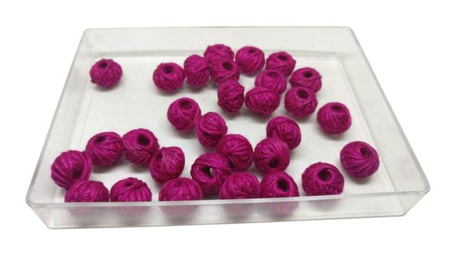 Aumni Crafts Handmade Cotton Thread Beads Ball For Jewellery Making 13x10mm Drum (Pack of 50 pieces) [Color 2-> Dark Pink]